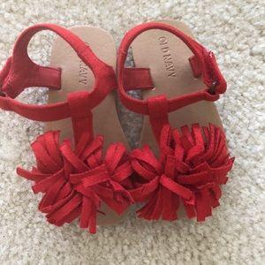 Old Navy Shoes - Old navy red fringe sandals - size 6